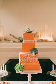 Modern orange cake accented with succulents