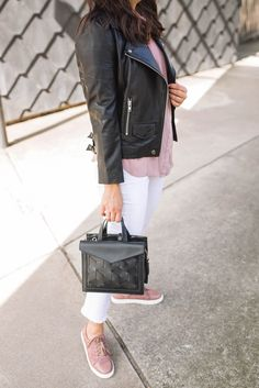 Leather Jacket With White Jeans For Summer - pink sneakers - pre-fall outfits, affordable fashion outfits | My Style Vita @mystylevita