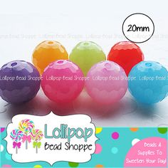 20mm Faceted Beads Semi-Transparent Chunky Necklace Beads 10-ct MIX Round Plastic Gum Ball Beads Acrylic Bubblegum Beads Bubble Gum Beads by LollipopBeadShoppe, $3.95