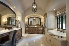 Spanish Colonial home - Master Bath with groin-vault ceiling adorned with stenciling and faux finish. Spanish Style Bathrooms, Spanish Bathroom, Spanish Colonial Homes, Spanish Style Homes, Spanish Revival, Spanish House, Luxury Master Bathrooms, Large Bathrooms, Master Baths