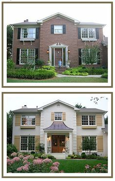 ~ Living a Beautiful Life ~ This house looks so much better balanced with the new entrance. I've always liked painted brick, but I know a lot of people don't want the maintenence. ~ inspiration for enhancing your home's curb appeal Up House, House Front, Front Porch, Front Door Awning, Porch Overhang, Porch Awning, Porch Doors, Front Entry, Exterior Paint