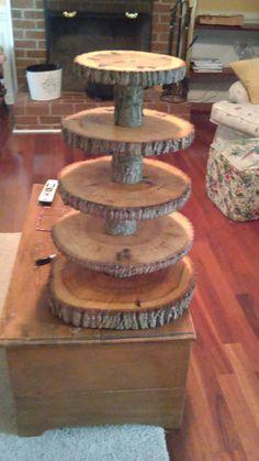 5 niveaux Log naturel Cupcake Stand et gâteau de mariage