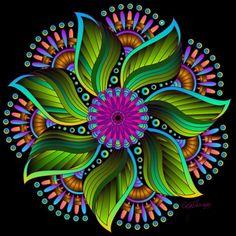 7 petals green Dot Art Painting, Mandala Painting, Mandala Drawing, Mandala Design, Mandala Pattern, Flower Mandala, Flower Art, Mandala Dots, Art Fractal