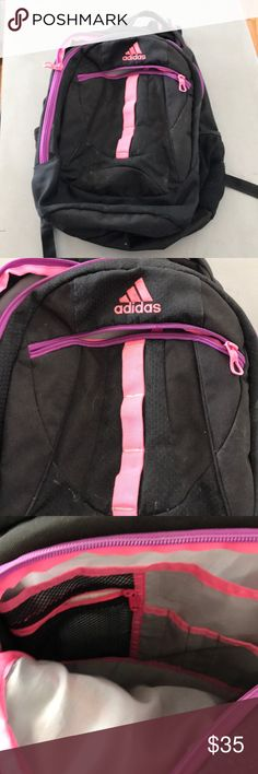 Adidas backpack Super cute Adidas backpack. Used condition but still great quality. Perfect for school, travel, or gym. Black w hot pink and purple. Two large zipper pouches as shown and small front zip pouch! adidas Bags Backpacks