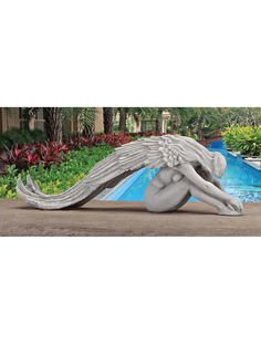 Design Toscano Extended Grace Angel Garden Statue 24 Inch Polyresin Antique Stone >>> Inspect this remarkable item by mosting likely to the web link at the image. (This is an affiliate link). Angel Garden Statues, Fairy Statues, Garden Angels, Garden Statues For Sale, Instalation Art, Angeles, Ange Demon, Angels In Heaven, Angel Art