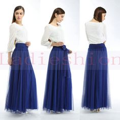 105cm-Long-Chic-Blue-Women-Slim-Elastic-High-Waist-Tulle-Maxi-Full-Beach-Skirt