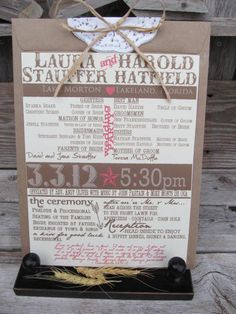 Rustic Chic  Wedding Programs - Perfect for the rustic or shabby chic wedding. Choose your colors, graphics, etc.. $5.00, via Etsy.