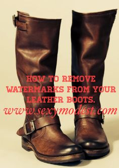To remove watermarks from leather boots, add a few drops of vinegar to a bowl of cool water and scrub the stains with a soft bristle brush until stains are no longer visible. Let dry overnight. www.sexymodest.com #boots #stains #fashiontips #fashiontricks #style #beauty