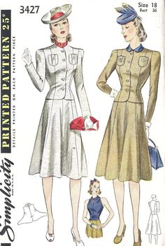"""1940s Misses Suit with Jacket, Skirt and Halter Style Gilet Vintage Sewing Pattern Simplicity 3427 bust 36"""" uncut. $30.00, via Etsy."""