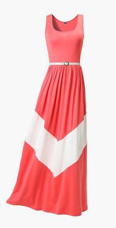 Chevron Print Sleeveless maxi dress with belt
