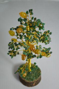 Gem stone tree - JADE & yellow stones  Dimension: 14'' (H)