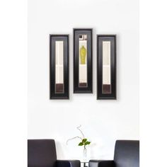 Rayne Black With Silver Caged Trim Mirror Panel, Set of 3