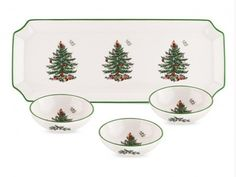 Spode Christmas Tree Rectangular Tray with 3 Dishes  http://www.thebowlcompany.com/products/Spode-Christmas-Tree-Rectangular-Tray-with-3-Dishes/159272