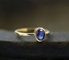 Natural Ceylon Blue Sapphire Engagement Ring by DiorrahJewellery