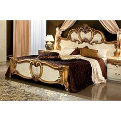 Barocco (Ivory/Gold) price for King Size Bed, This traditional Barocco style king size bedroom set in ivory/gold rich finish consists of queen size leather panel bed, 2 night stands, double dresser an King Size Bedroom Sets, Queen Bedroom, Baroque Bedroom, Royal Bedroom, Master Bedroom, Collor, Traditional Bedroom, Traditional Ideas, Traditional Furniture