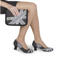 752690d6 Ruby Shoo Paula Black & White Gingham Check Low Heels