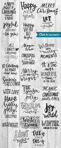 There are hand painted Christmas and Holidays letterings, vector decorative elements and cards.