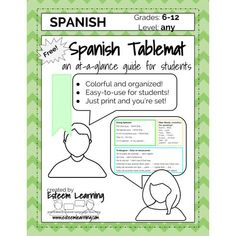 Spanish Table Mat - Speaking Phrases for Participation - FREE from sponsor @educents