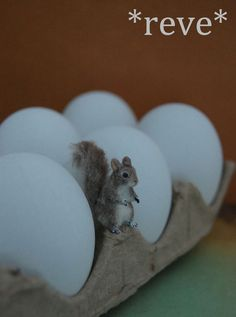 OOAK Handmade Miniature Squirrel Sculpture by ReveMiniatures