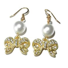 Gold Bows and Pearls Dangle Earrings by CloudNineDesignz on Etsy, $12.00