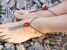 Rhinestones Barefoot Sandals with red crystal Foot by Kreacje