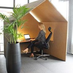 The Hut is a space away from the busy office, a quiet space to concentrate or work. The acoustic Hut's simple form and size also allows for small meetings and soft seating to be placed within