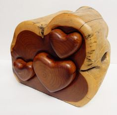 Wood Log Storage Container Jewelry Trinket Box Cedar Heart Artisan Number Rustic #HandMade