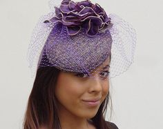 Dutch design multicoloured handmade purple hat made off tweed wool hand made flower in ton sur ton French veiling included but optional