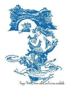 Nursery Mermaid Art Girl Vintage Illustration custom colors available 11x14. $22.00, via Etsy.