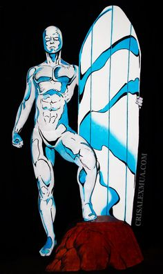 silver surfer body painting