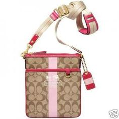 COACH HERITAGE STRIPE SIGNATURE SWINGPACK