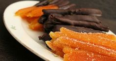 Candied orange peel, some dipped in chocolate. Now I need the orange tree to hurry up so I can make these for everyone I know! Greek Sweets, Greek Desserts, Greek Recipes, Vegan Desserts, Fun Desserts, Fruit Dessert, Greek Cake, Food Network Recipes, Cooking Recipes