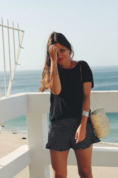 Summer outfit wearing polka dot shorts and raffia bag #fashion #look #style
