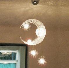 Moon & stars pendant for bedroom ceiling