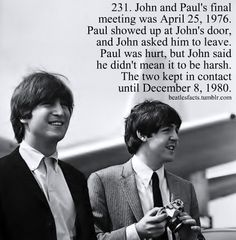 John Lennon and Paul McCartney Les Beatles, Beatles Love, Beatles Photos, Beatles Trivia, John Lennon Paul Mccartney, Paul And Linda Mccartney, Paul Mccartney Quotes, Nowhere Boy, Great Bands