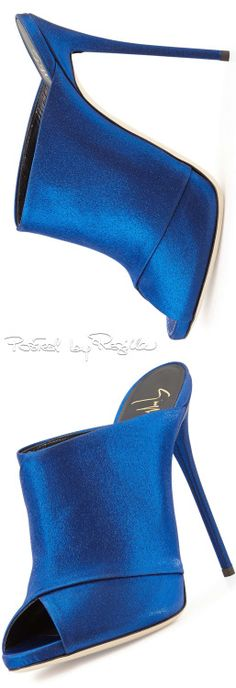 Royal Blue Satin PeepToe Mule