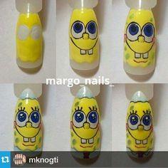 Step by Step Nail Art Design Bob Sponge Crazy Nail Art, Crazy Nails, Love Nails, Cartoon Nail Designs, Cute Nail Designs, Best Acrylic Nails, Gel Nail Art, Nail Art Dessin, Nail Drawing