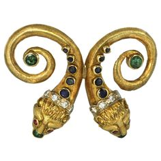 LALAOUNIS Diamond & Precious Stone Double Lion's Head Brooch Greece,1970s -- I love anything created by Lalalounis!!
