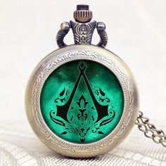 Assassin's Creed Quartz Necklace Pocket Watch Long Chain Man Woman Gift Xmas #Unbranded