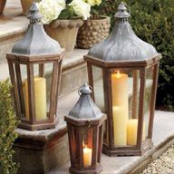 Lanterns look awesome on a front porch decorated for fall! (outdoor porch lights entryway)