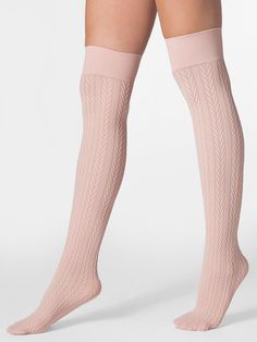 Would be cutie with a bootie!    American Apparel - Opaque Over-the-Knee Cable Knit Sock