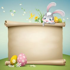 cartoon illustration of cute easter bunny with paper scroll for copy. Cute Easter Bunny, Happy Easter, Behavior Chart Toddler, Easter Crafts, Crafts For Kids, Kids Background, School Frame, Frame Clipart, Writing Paper