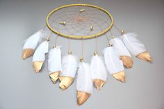 Large Dream catcher Wall Hanging Wite and by FeatherDreamcatchers