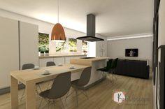 Vista 3D comedor-cocina vivienda vacacional.