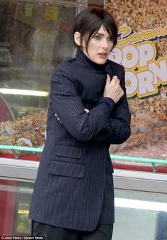 Winona in Coney Island doing a shoot for the Rag & Bone Campaign