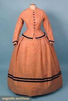Apricot Wool Day Dress, 1860s.