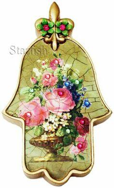 Michal Negrin Victorian Style Roses Crystals Wall Decor Hamsa