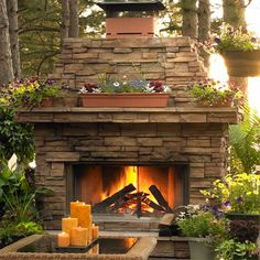 Beautiful- achieve the outdoor living with an outdoor fire place. maybe under the the patio bricks place heated cooling system to use the area in late fall early winter to very early spring. Diy Outdoor Fireplace, Backyard Fireplace, Backyard Patio, Wood Fireplace, Fireplace Ideas, Fireplace Design, Stackstone Fireplace, Backyard Landscaping, Custom Fireplace