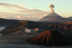 Volcano Mount Bromo with Mount Semeru at the back, Java