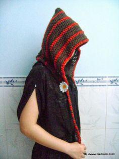 Forest girl hood - free crochet pattern by Maz Kwok.
